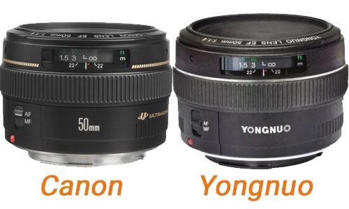 Comparison 50mm 1.4 Yongnuo / Canon