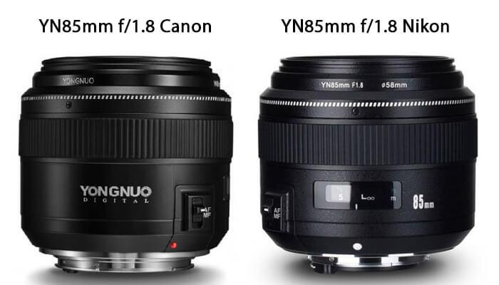 comparison yn85mm f/1.8 Canon vs Nikon