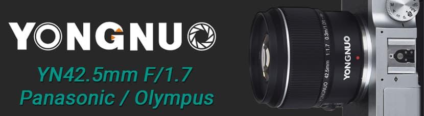 Yongnuo 42.5mm f/17 lens banner